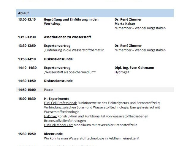 """Workshop """"Wasserstoff – gespeicherte Energie in Bürgerhand"""""""